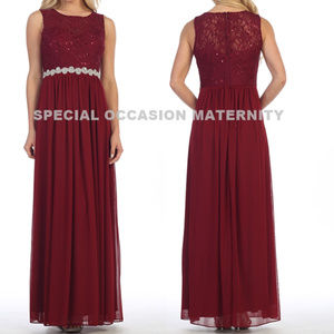 Long Wine Chiffon lace Gown Rhines Plus Dress NWT